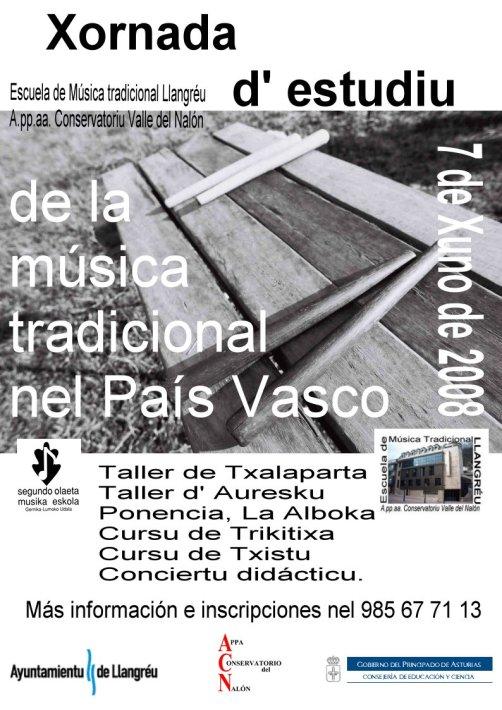 Cartel Xornada d' estudiu del música tradicional nel País Vasco