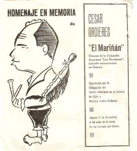 Homenaje a Cesar Ordieres de mi padre en el Centro Asturiano en Gijón